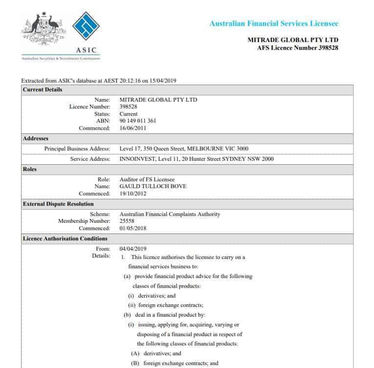 giấy phép ASIC mitrade