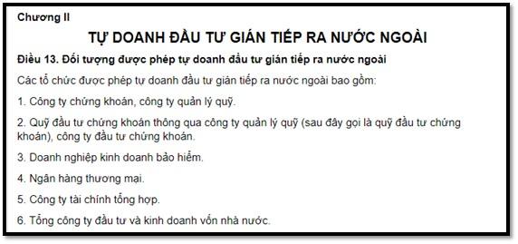 quy định mua cổ phiếu nước ngoài cho Tổ chức tự doanh của Việt Nam