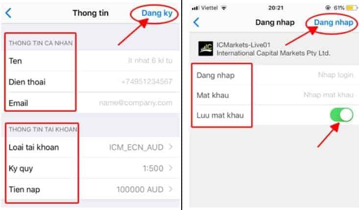 """Tạo Demo – Ấn vào Mục Demo, Tạo tài khoản thực Ấn mục """"Live"""" tương ứng"""