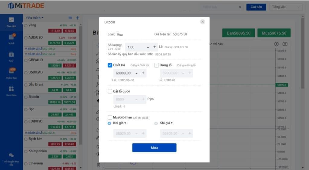 mua Bitcoin trên Mitrade
