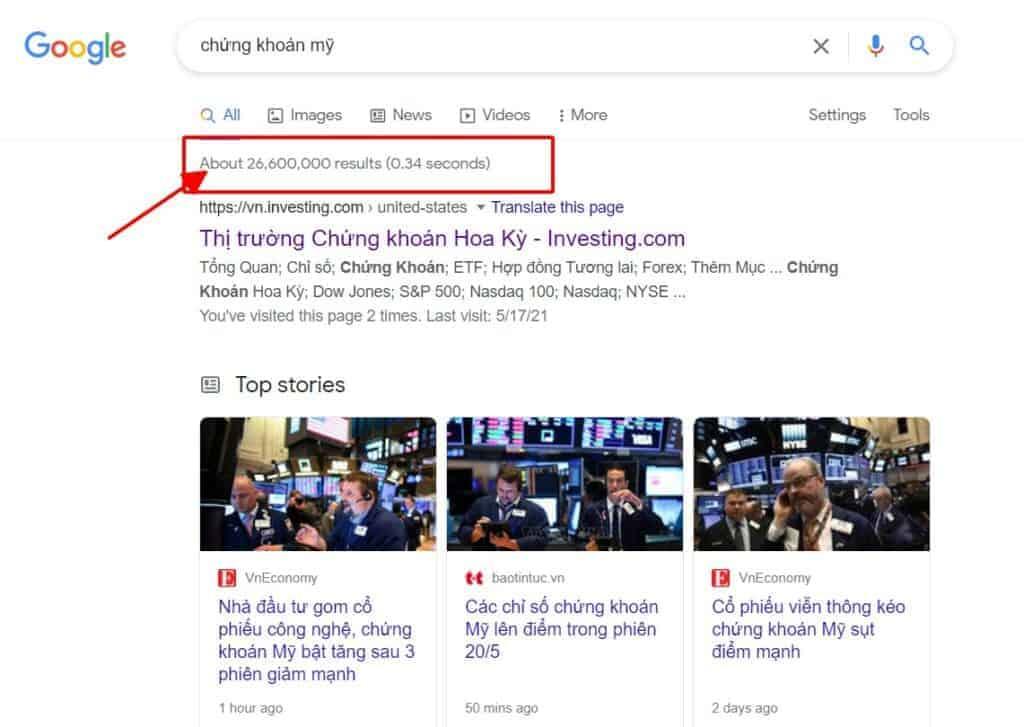 Tìm kiếm chứng khoán Mỹ trên google