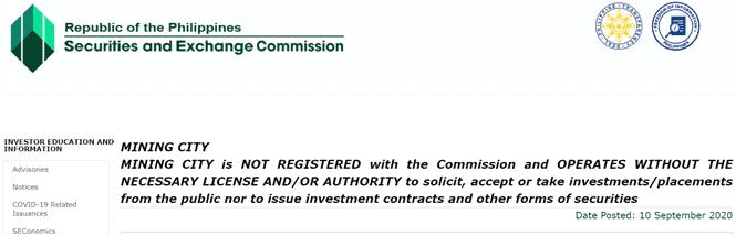 Ủy ban Giao dịch và Chứng khoán Philippines đưa ra lời cảnh báo về mining city