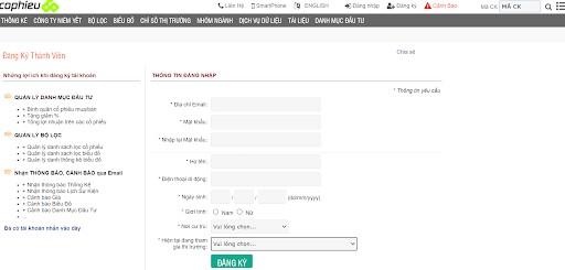 Khi truy cập trên Cophieu68 mobile, bạn chỉ cần đăng nhập vào tài khoản